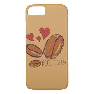 case iPhone 7 coffee lover brown color hand drawn