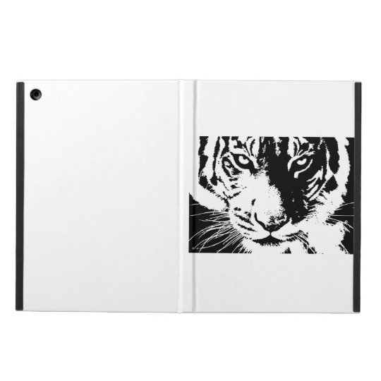 Case with a black and white print Tiger iPad Air Covers