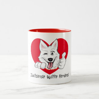 Case with laughing Swiss white shepherd Two-Tone Coffee Mug