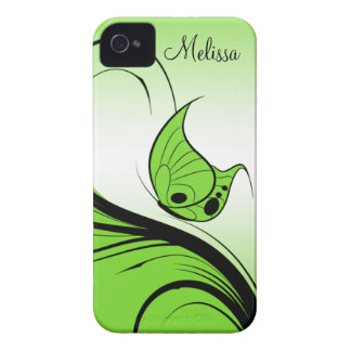 Casemate iPhone4 Lime Green Butterfly Black Swirls iPhone 4 Case-Mate Case