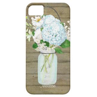 Cases Rustic Country Mason Jar Blue Hydrangeas iPhone 5 Cases
