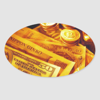 Cash And Gold Oval Sticker