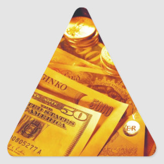 Cash And Gold Triangle Sticker