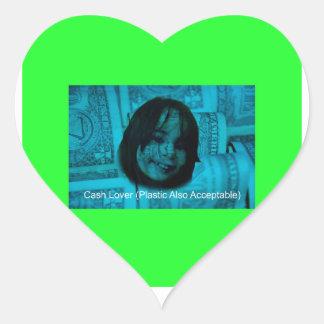 Cash Lover (Plastic Also Acceptable) Money Face Heart Sticker