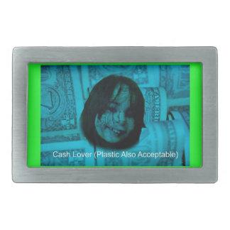Cash Lover (Plastic Also Acceptable) Money Face Rectangular Belt Buckle