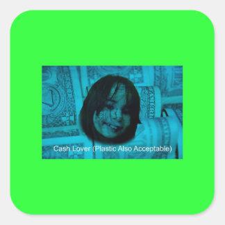Cash Lover (Plastic Also Acceptable) Money Face Square Sticker