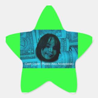 Cash Lover (Plastic Also Acceptable) Money Face Star Sticker