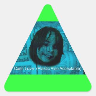 Cash Lover (Plastic Also Acceptable) Money Face Triangle Sticker