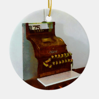 Cash Register Round Ceramic Ornament