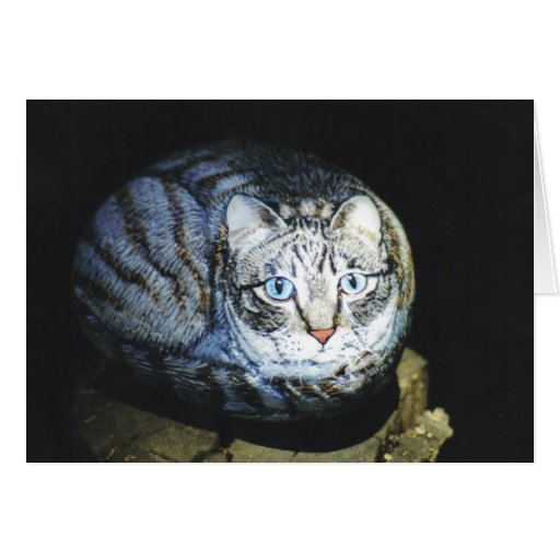 """Cashew"" cat rock card"