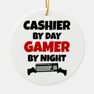 Cashier by Day Gamer by Night Ceramic Ornament