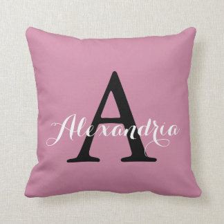 Cashmere Rose Soft Pink Solid Color Monogram Throw Pillow