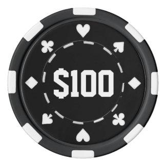 Casino, $100, Poker Chips, Black/White Poker Chips
