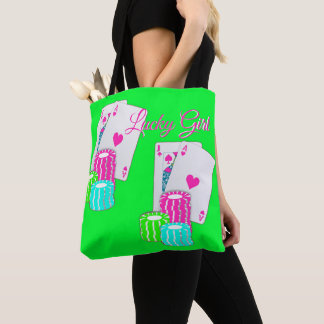 Casino Blackjack And Chips Lucky Girl Tote Bag