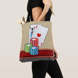 Casino Blackjack Cards And Chips On Tan Red Black Tote Bag