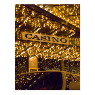 Casino Bright Lights Las Vegas Gambling Money Postcard