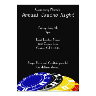 Casino Chips Party Invitations