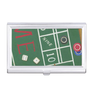 Casino Craps Table with Chips and Dice Case For Business Cards