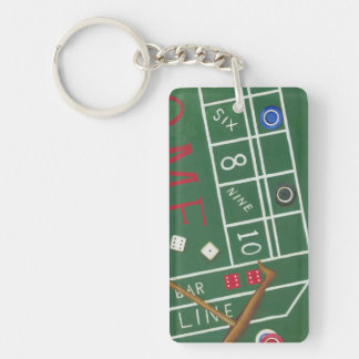Casino Craps Table with Chips and Dice Keychain