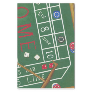 Casino Craps Table with Chips and Dice Tissue Paper
