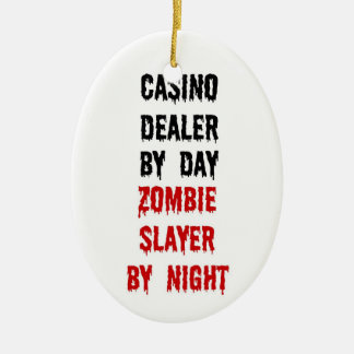 Casino Dealer Zombie Slayer Ceramic Ornament