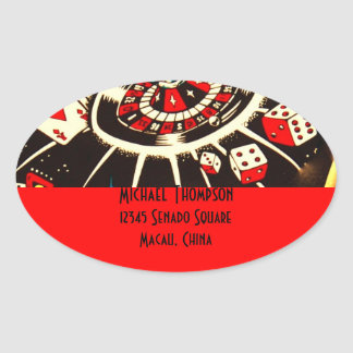 Casino Gambler Address Label in Lucky Red
