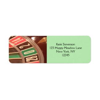 Casino Gambling Roulette Wheel Vintage Retro Style Return Address Labels