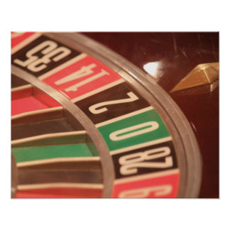 Casino Gambling Roulette Wheel Vintage Retro Style Poster