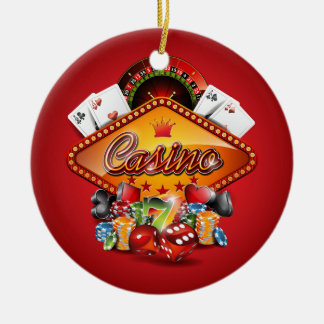Casino illustration with gambling elements ceramic ornament