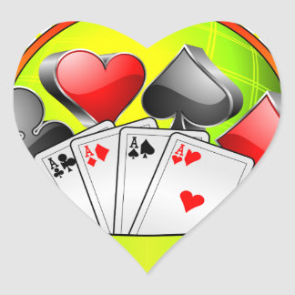 Casino illustration with gambling elements heart sticker