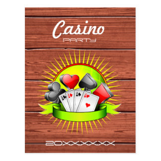 Casino illustration with gambling elements postcard