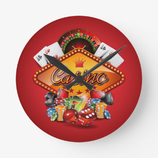 Casino illustration with gambling elements round clock