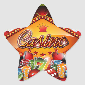 Casino illustration with gambling elements star sticker