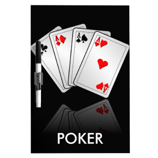 Casino illustration with poker cards aces dry erase white board