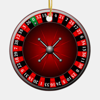 Casino illustration with roulette wheel ceramic ornament