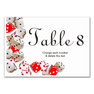 Casino Las Vegas Gambling Wedding Table Numbers Table Cards