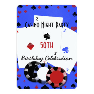 Casino night birthday party card