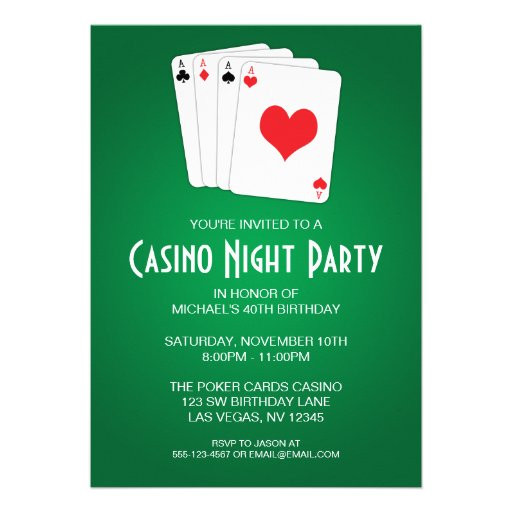 Casino Night Birthday Party Personalized Announcement