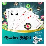 Casino Night Birthday Party Invitations Custom Announcements