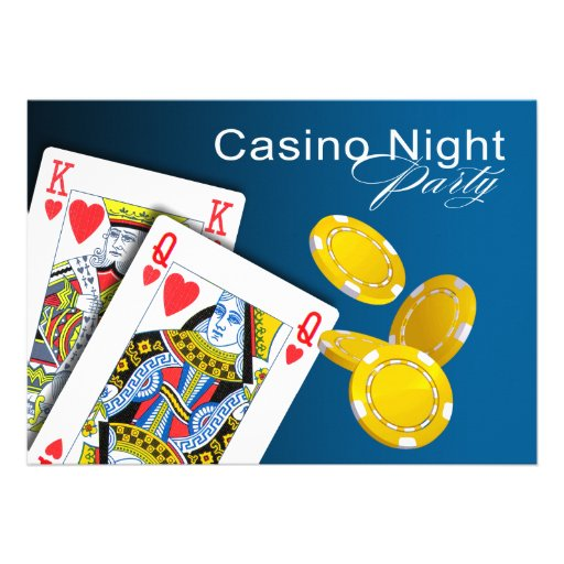 Casino Night Las Vegas Poker Party - blue Personalized Announcements