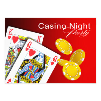 Casino Night Las Vegas Poker Party - red Custom Invitations