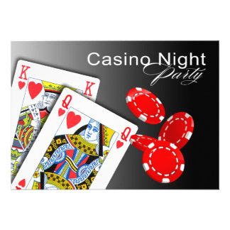 Casino Night Las Vegas Poker Party - red Personalized Announcement