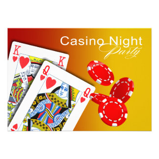 Casino Night Las Vegas Poker Party - yellow Invites