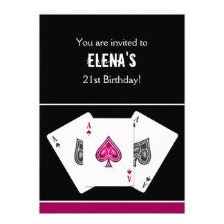 Casino night party Invitation pink