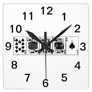 Casino Night Poker Royal Straight Flush Spades Square Wall Clock