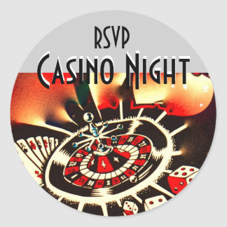 Casino Night rsvp Classic Round Sticker