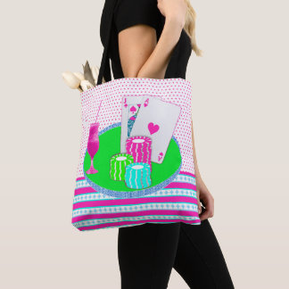 Casino Pink Blackjack with Drink Card Table Tote Bag