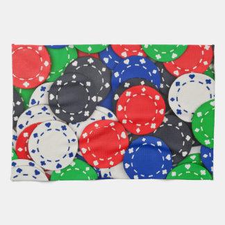 Casino poker chips kitchen towel