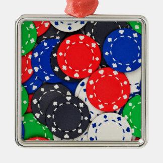 Casino poker chips Silver-Colored square ornament
