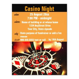 "Casino Poker Night  Party 4.25"" X 5.5"" Invitation Card"